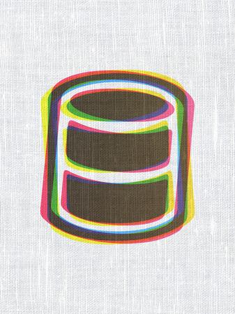 database: Database concept: CMYK Database on linen fabric texture background