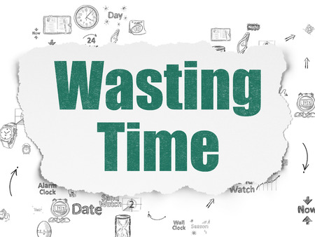 wasting: Time concept: Painted green text Wasting Time on Torn Paper background with Scheme Of Hand Drawing Time Icons Stock Photo