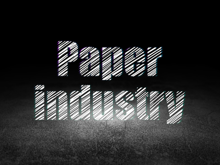 dirty room: Manufacuring concept: Glowing text Paper Industry in grunge dark room with Dirty Floor, black background
