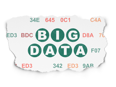 hexadecimal: Information concept: Painted green text Big Data on Torn Paper background with  Hexadecimal Code Stock Photo