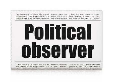 observer: Politics concept: newspaper headline Political Observer on White background, 3d render Stock Photo