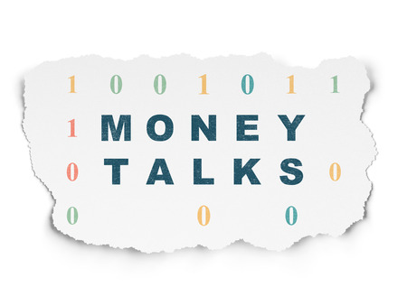 conversaciones: Finance concept: Painted blue text Money Talks on Torn Paper background with  Binary Code