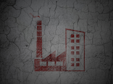abandoned warehouse: Industry concept: Red Industry Building on grunge textured concrete wall background