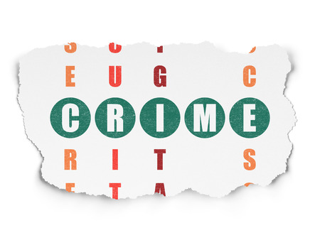 crime solving: Security concept: Painted green word Crime in solving Crossword Puzzle on Torn Paper background Stock Photo