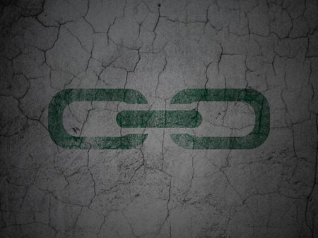 abandoned building: Web development concept: Green Link on grunge textured concrete wall background