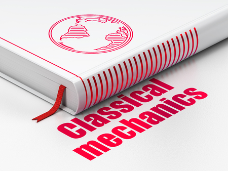 classical mechanics: Science concept: closed book with Red Globe icon and text Classical Mechanics on floor, white background, 3d render