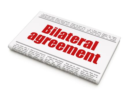 bilateral: Insurance concept: newspaper headline Bilateral Agreement on White background, 3d render