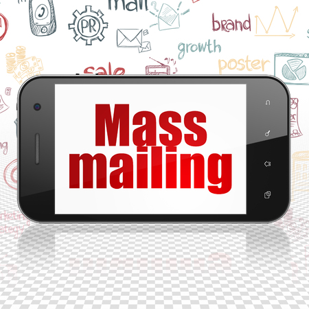 mailing: Marketing concept: Smartphone with  red text Mass Mailing on display,  Hand Drawn Marketing Icons background