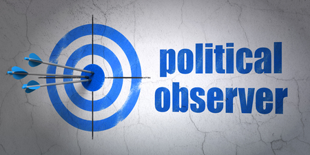 observer: Success political concept: arrows hitting the center of target, Blue Political Observer on wall background Stock Photo