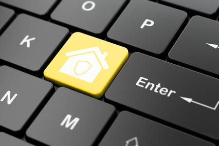 company secrets: Business concept: computer keyboard with Home icon on enter button background, 3d render Stock Photo