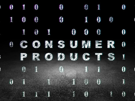 consumer products: Finance concept: Glowing text Consumer Products in grunge dark room with Dirty Floor, black background with Binary Code