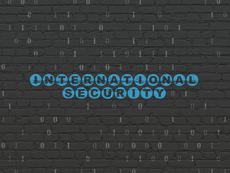 international security: Security concept: Painted blue text International Security on Black Brick wall background with Binary Code Stock Photo