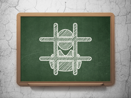 freed: Law concept: Criminal Freed icon on Green chalkboard on grunge wall background Stock Photo