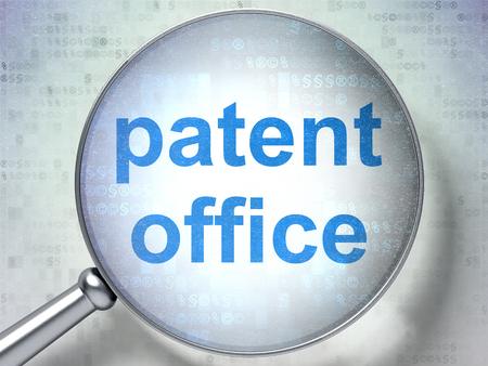 data protection act: Law concept: magnifying optical glass with words Patent Office on digital background