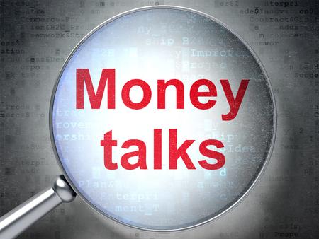 conversaciones: Concepto de las finanzas: lupa �ptica con palabras Negociaciones del dinero en el fondo digital