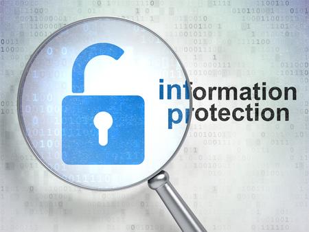 privacidad: Concepto de protección: vidrio óptico de aumento con el icono de candado abierto y la palabra de protección de información sobre fondo digital