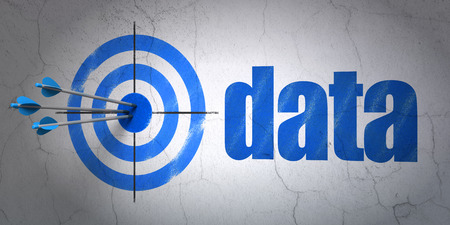 hitting a wall: Success Information concept: arrows hitting the center of target, Blue Data on wall background