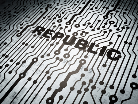 electronic voting: Political concept: circuit board with  word Republic, 3d render