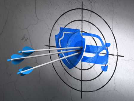 car care center: Success Insurance concept: arrows hitting the center of Blue Car And Shield target on wall background