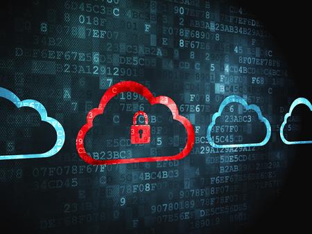 Cloud-Computing-Konzept: pixelig Cloud mit Vorhängeschloss-Symbol auf digitale Hintergrund