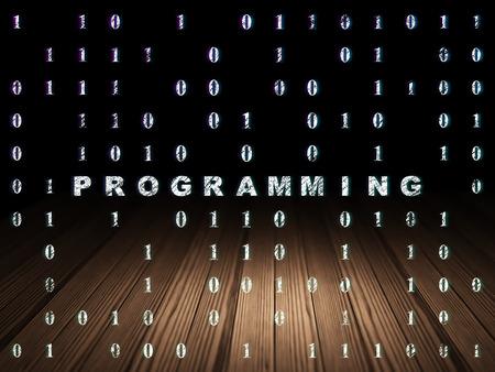 Programming Concept: Glowing Text Programming In Grunge Dark Room With  Wooden Floor, Black Background