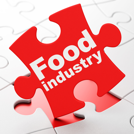 food industry: Manufacuring concept: Food Industry on Red puzzle pieces background, 3d render