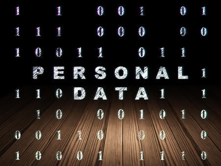 personal data: Information concept: Glowing text Personal Data in grunge dark room with Wooden Floor, black background with Binary Code