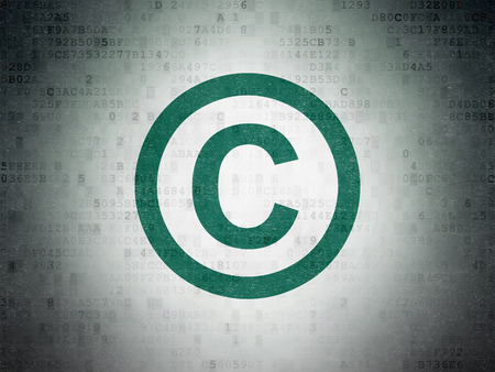 criminal act: Law concept: Painted green Copyright icon on Digital Paper background Stock Photo
