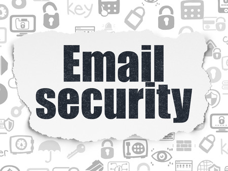 email security: Privacy concept: Painted black text Email Security on Torn Paper background with  Hand Drawn Security Icons Stock Photo