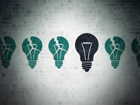 broken strategy: Finance concept: row of Painted blue light bulb icons around black light bulb icon on Digital Paper background Stock Photo