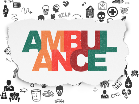healing process: Health concept: Painted multicolor text Ambulance on Torn Paper background with Scheme Of Hand Drawn Medicine Icons