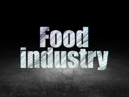 dirty room: Industry concept: Glowing text Food Industry in grunge dark room with Dirty Floor, black background