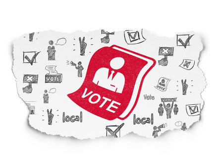agitation: Political concept: Painted red Ballot icon on Torn Paper background with  Hand Drawn Politics Icons