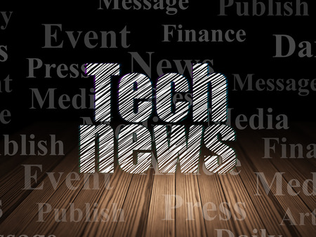 news room: News concept: Glowing text Tech News in grunge dark room with Wooden Floor, black background with  Tag Cloud