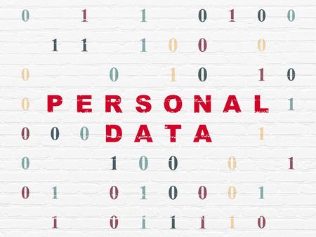datos personales: Concepto de los datos: el texto en rojo pintado de Datos Personales en el fondo blanco de la pared de ladrillo con el código binario