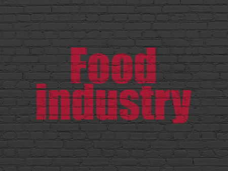 food industry: Industry concept: Painted red text Food Industry on Black Brick wall background Stock Photo