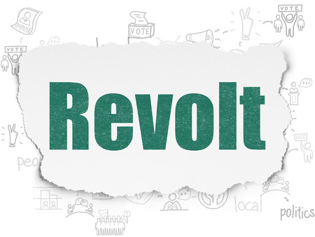 revolt: Political concept: Painted green text Revolt on Torn Paper background with Scheme Of Hand Drawn Politics Icons
