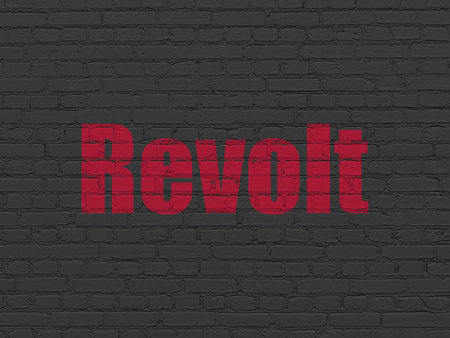 revolt: Politics concept: Painted red text Revolt on Black Brick wall background