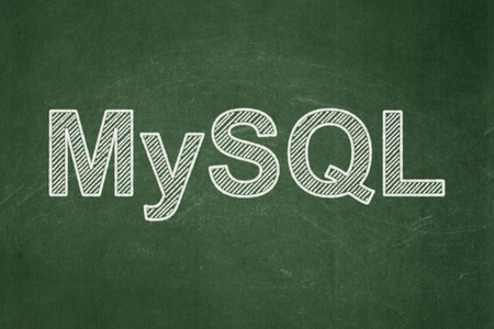 mysql: Database concept: text MySQL on Green chalkboard background