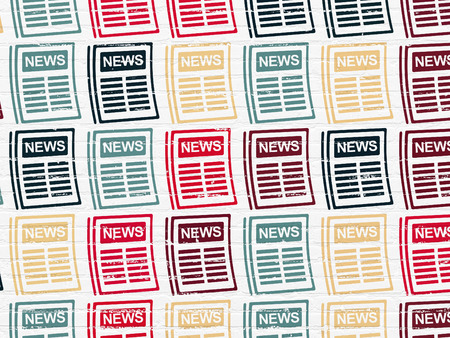 gazette: News concept: Painted multicolor Newspaper icons on White Brick wall background
