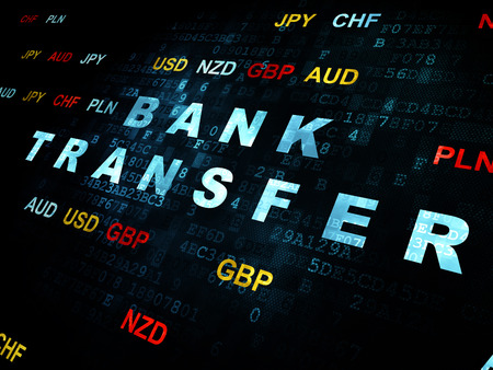 bank transfer: Banking concept: Pixelated blue text Bank Transfer on Digital wall background with Currency Stock Photo