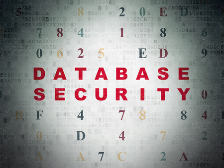 hexadecimal: Privacy concept: Painted red text Database Security on Digital Paper background with Hexadecimal Code