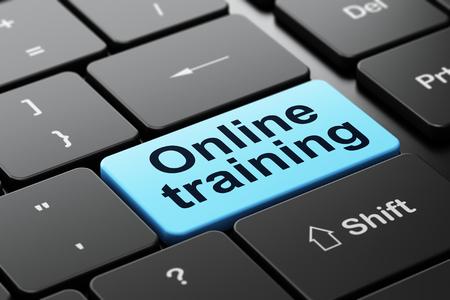 Concepto de educación: teclado de computadora con entrenamiento en línea de la palabra, foco seleccionado en fondo del botón de entrada, 3d rinden Foto de archivo