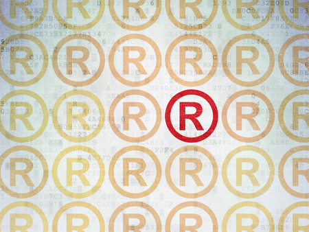 r regulation: Law concept: rows of Painted yellow registered icons around red registered icon on Digital Paper background Stock Photo
