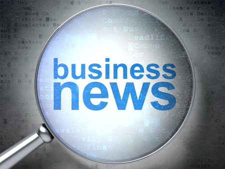 urgent announcement: News concept: magnifying optical glass with words Business News on digital background