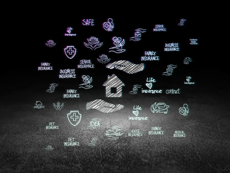 family policy: Insurance concept: Glowing House And Palm icon in grunge dark room with Dirty Floor, black background with  Hand Drawn Insurance Icons