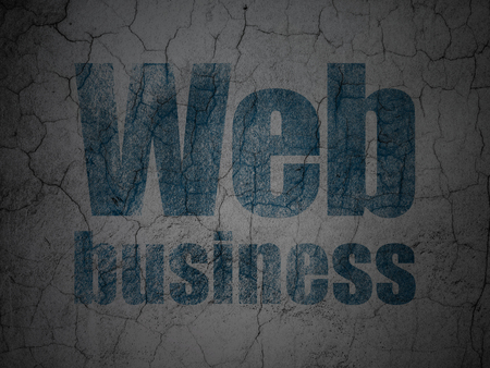 hypertext: Web development concept: Blue Web Business on grunge textured concrete wall background Stock Photo