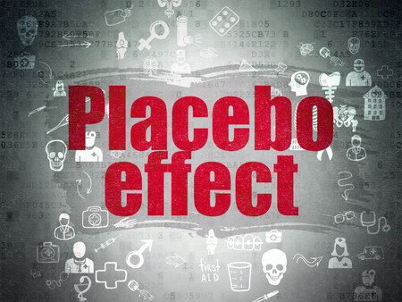 placebo: Health concept: Painted red text Placebo Effect on Digital Paper background with Scheme Of Hand Drawn Medicine Icons