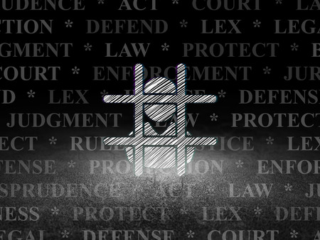 freed: Law concept: Glowing Criminal Freed icon in grunge dark room with Dirty Floor, black background with  Tag Cloud