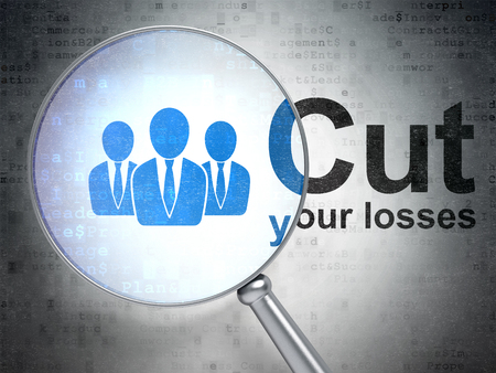 Business concept: magnifying optical glass with Business People icon and Cut Your losses word on digital background